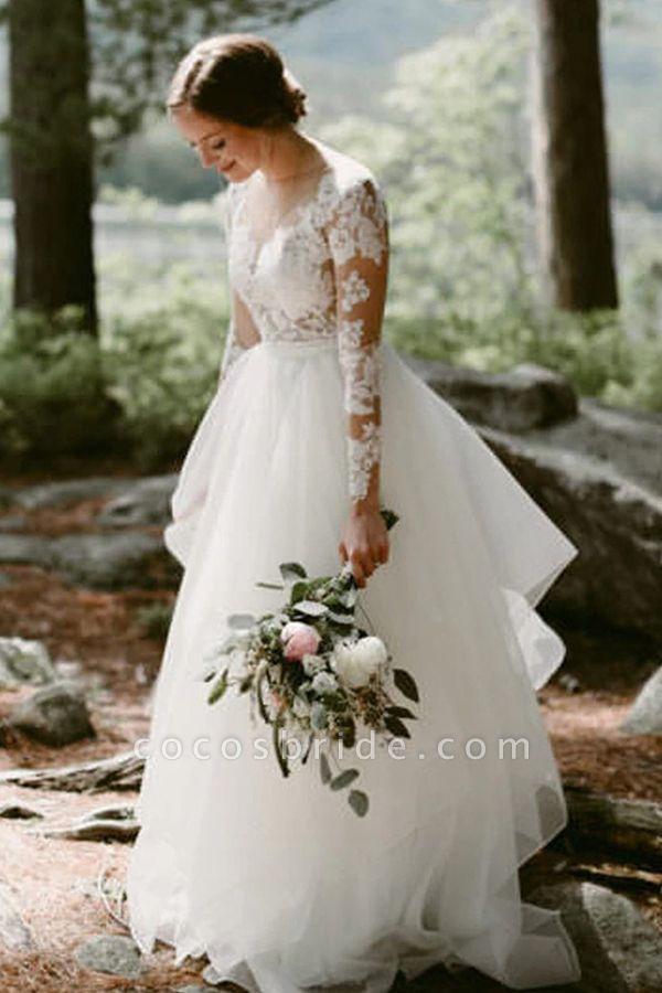 BC5746 Lace Long Sleeve Sheer Tulle A-line Floor Length Wedding Dress