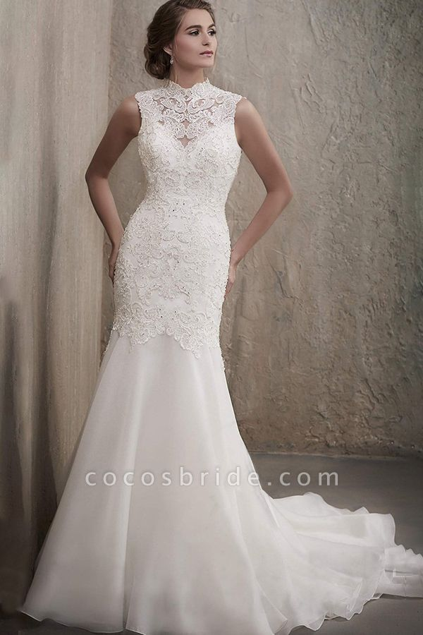 BC5741 Stunning High Neck Beads Illusion Backless Lace Mermaid Wedding Dress