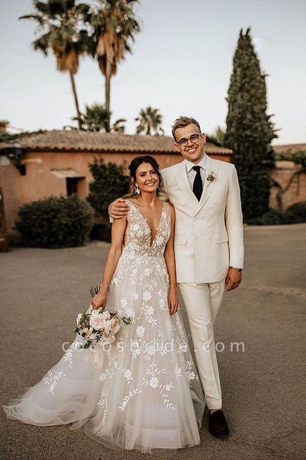 BC5797 Straps V-neck Appliques A-ine Boho Wedding Dress