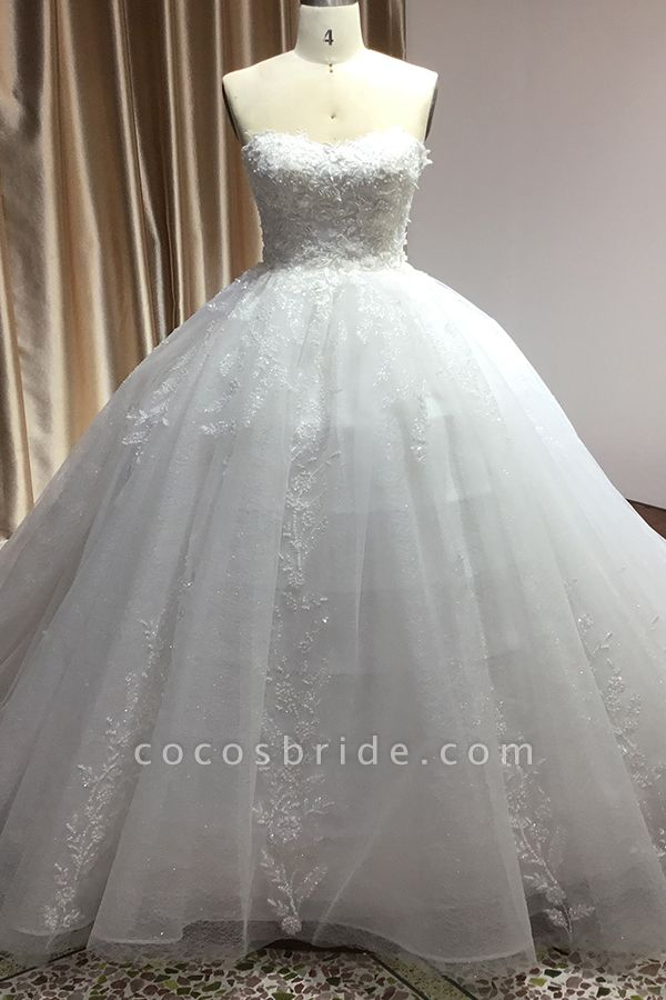 CPH229 Gergrous Off The Shoulder Appliques Sweetheart Ball Gown Wedding Dress
