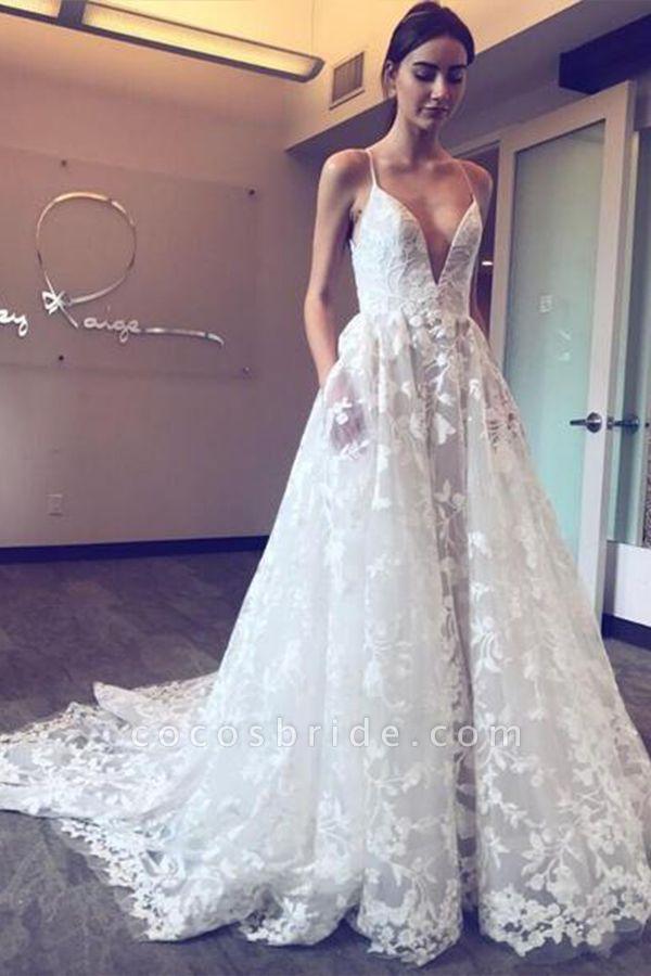 BC5670 Spaghetti Strap A-line V-neck Boho Wedding Dress