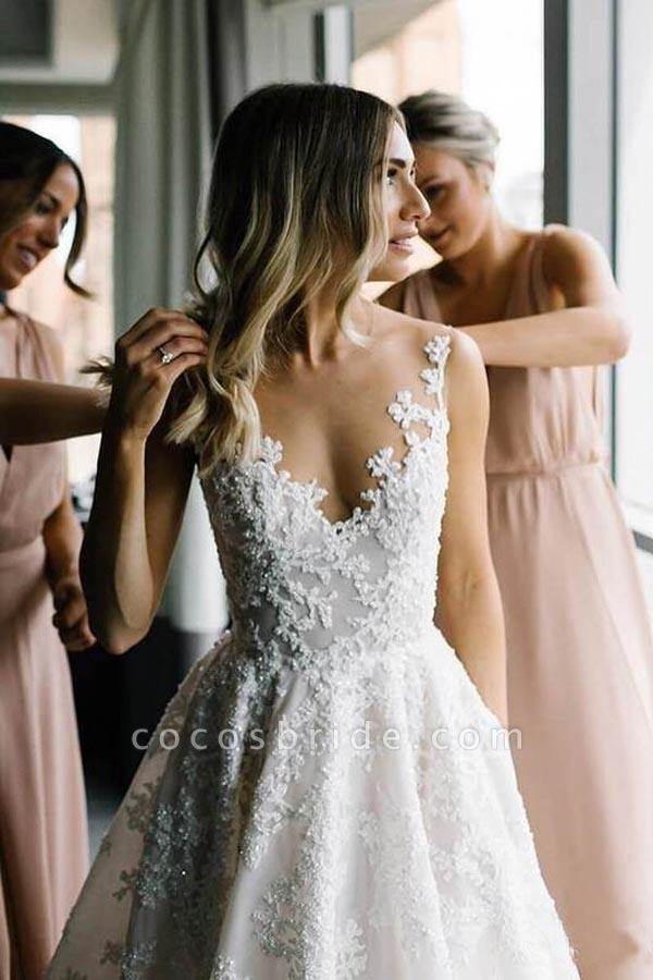 BC5663 Straps V-neck Floral Beads A-line Wedding Dress