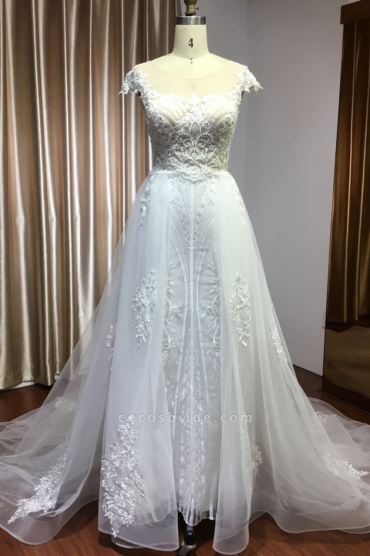CPH248 Gergrous Lace Cap Sleeve Sheath Wedding Dress With Detachable Train