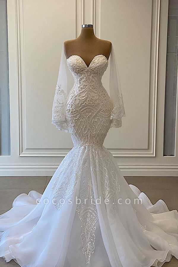 BC5666 Mermaid Sweetheart Strapless Pearls Beadings Lace Wedding Dress