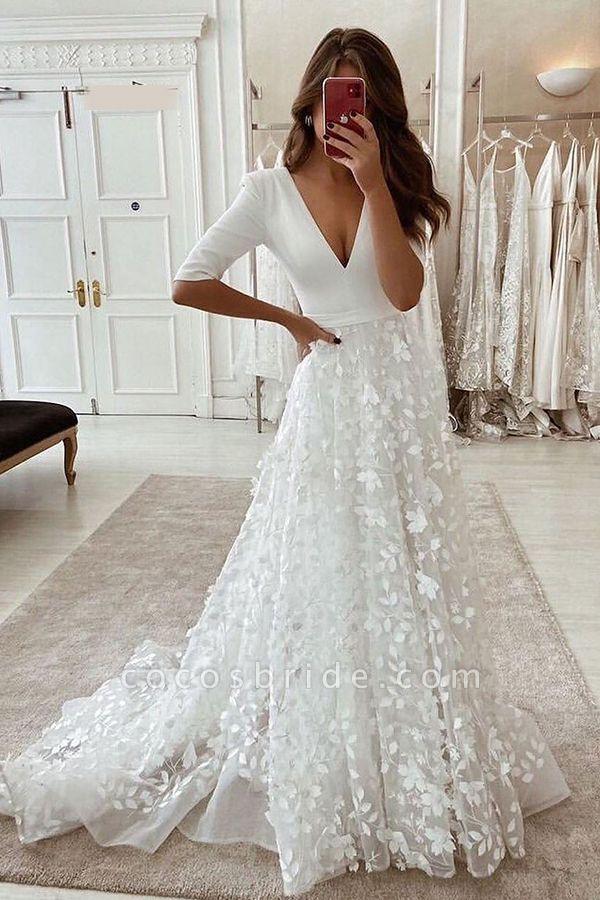 BC5799 V-neck Lace A-line Side Split 3/4 Sleeve Wedding Dress