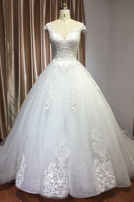 CPH245 Elegant Cap Sleeve Sheer Tulle Lace V-neck Ball Gown Wedding Dress