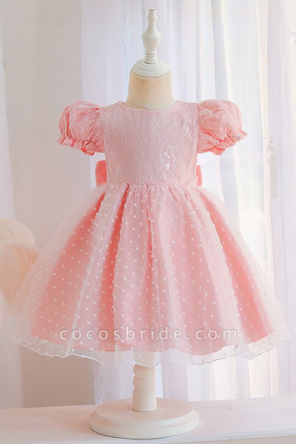 FS9967 Pink Short Sleeve Lace Flower Girl Dress