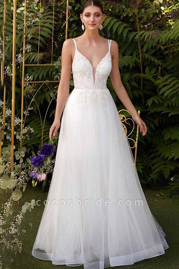 BC5742 Spaghetti Straps V-neck Appliques A-line Floor Length Boho Wedding Dress