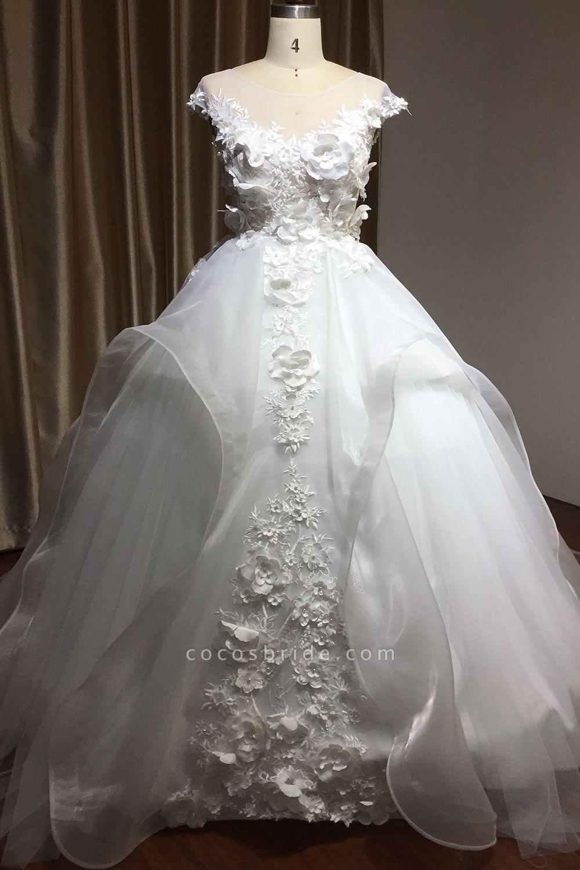 CPH251 Floral Appliques Cap Sleeve Jewel Ball Gown Wedding Dress