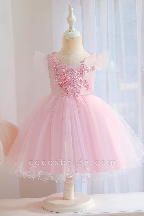 FS9965 Pink Floral Appliques Ball Gown Flower Girl Dress
