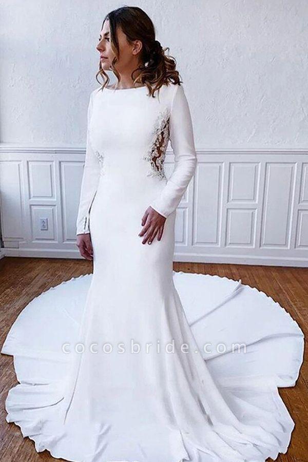 BC5750 Simple Long Sleeve Illusion Lace Back Sheath Wedding Dress