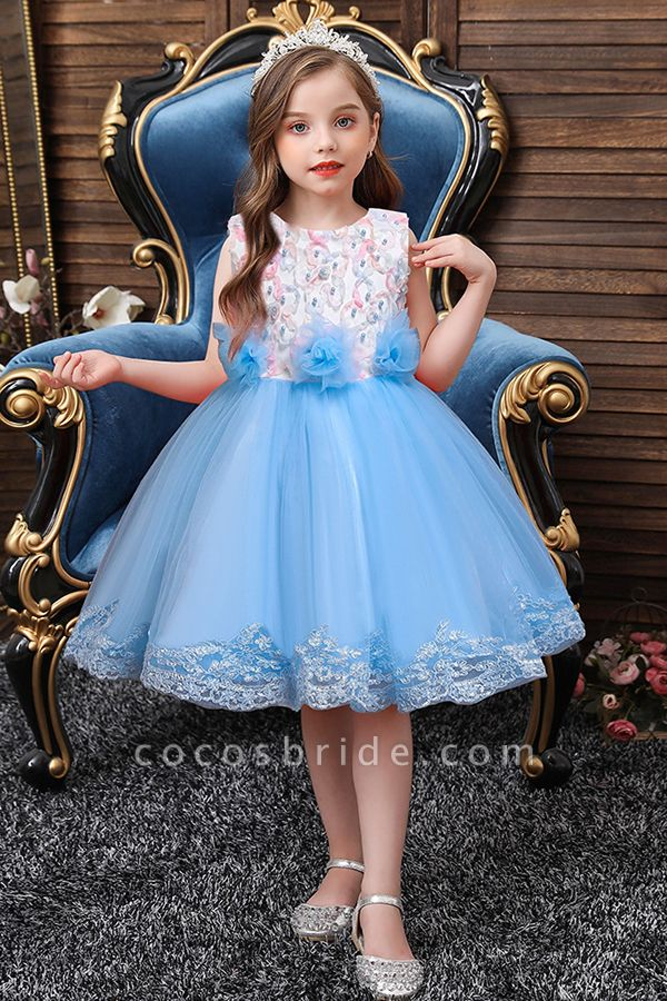 FS9979 Scoop Lace Bow Knee Length Flower Girl Dress