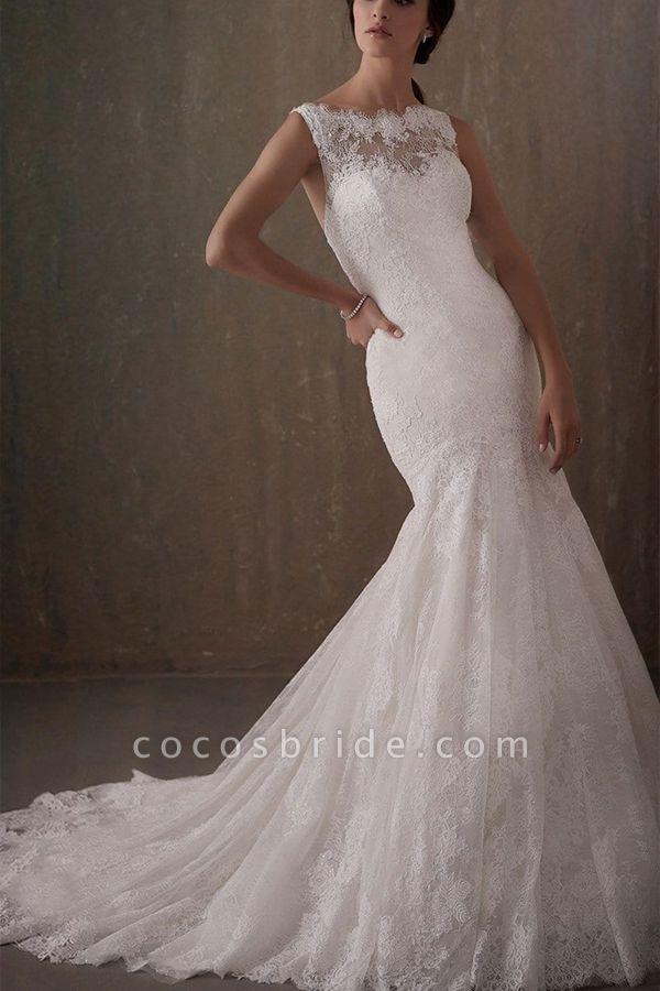 BC5740 Mermaid Illusion Lace Jewel Backless Wedding Dress
