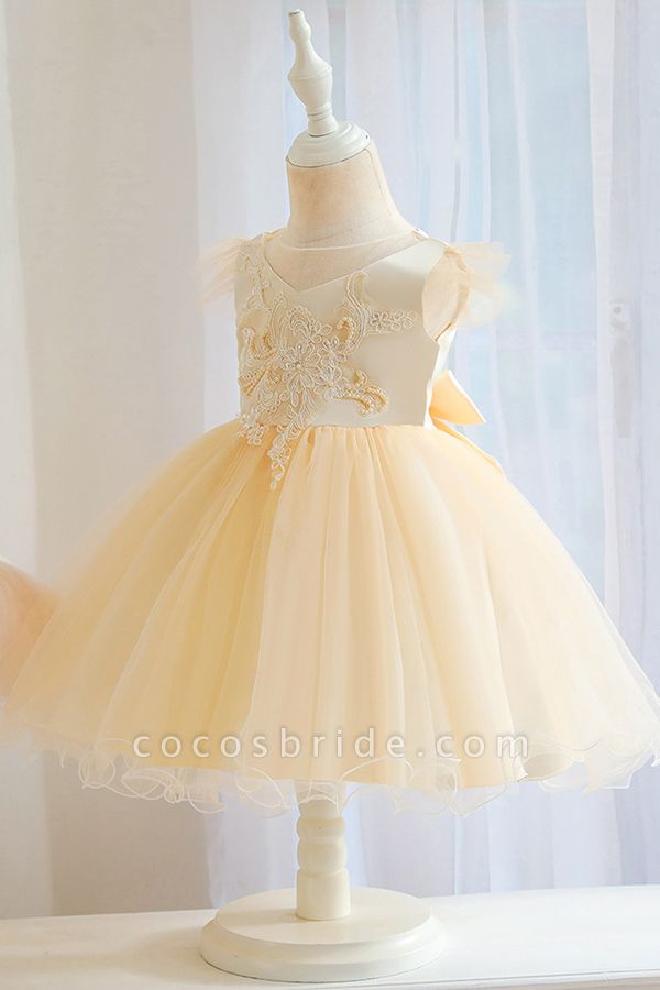 FS9982 Ball Gown Appliques White Pleated Flower Girl Dress