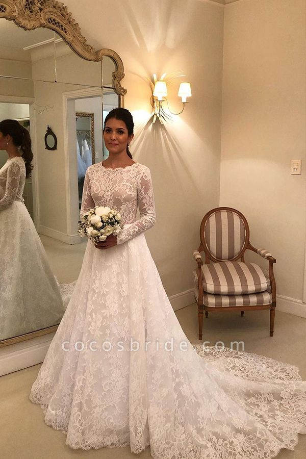 BC5805 Scoop Lace Long Sleeve A-line Wedding Dress