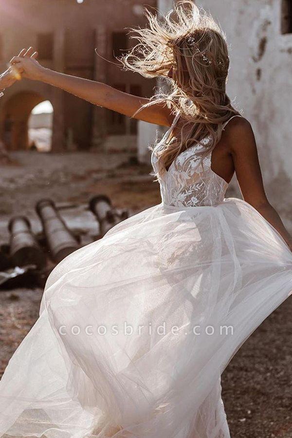 BC5796 Spaghetti Straps Lace Backless Tulle Boho Wedding Dress