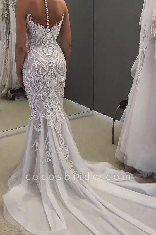 SD2137 Unique Sweetheart Mermaid White Long Wedding Dress with Lace Appliques