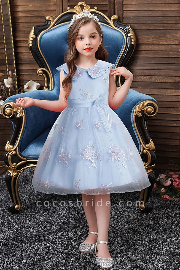 FS9976 Blue Appliques Tulle Knee Length Flower Gril Dress