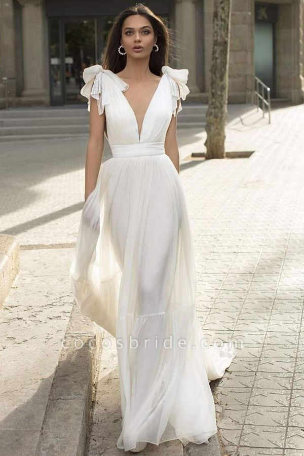 BC5744 Chiffon Bow Straps V-neck Sheath Wedding Dress