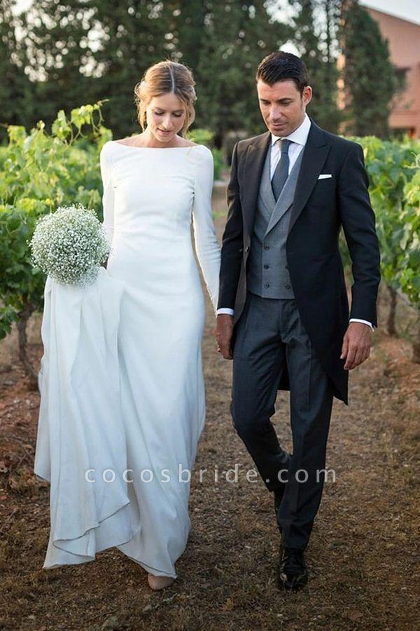 BC5745 Simple Scoop Long Sleeve Backless Sheath Wedding Dress