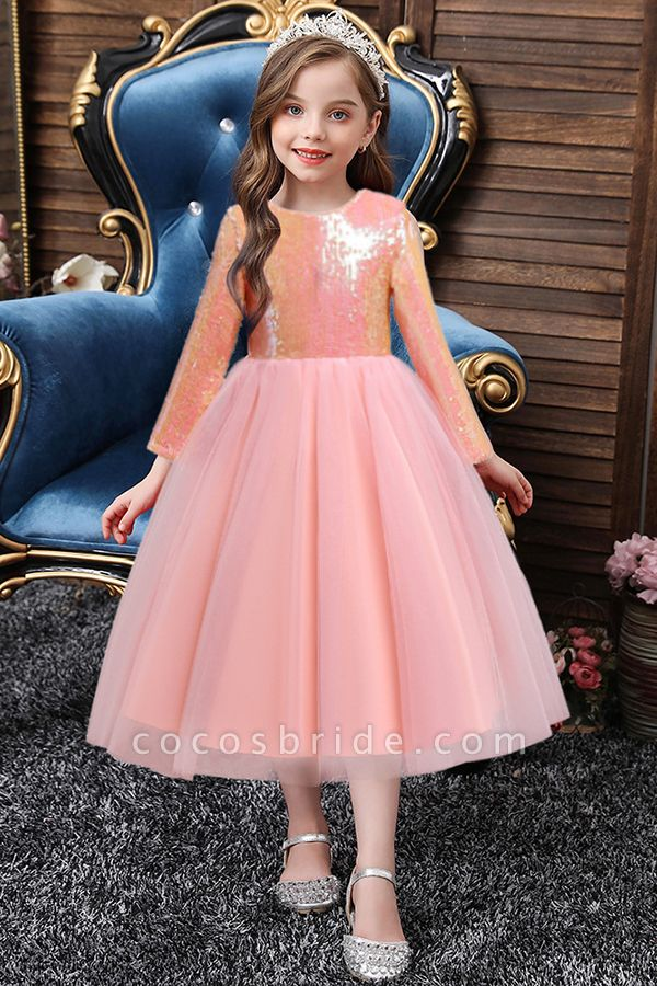 FS9969 Long Sleeve Sequins Tea Length Flower Girl Dress