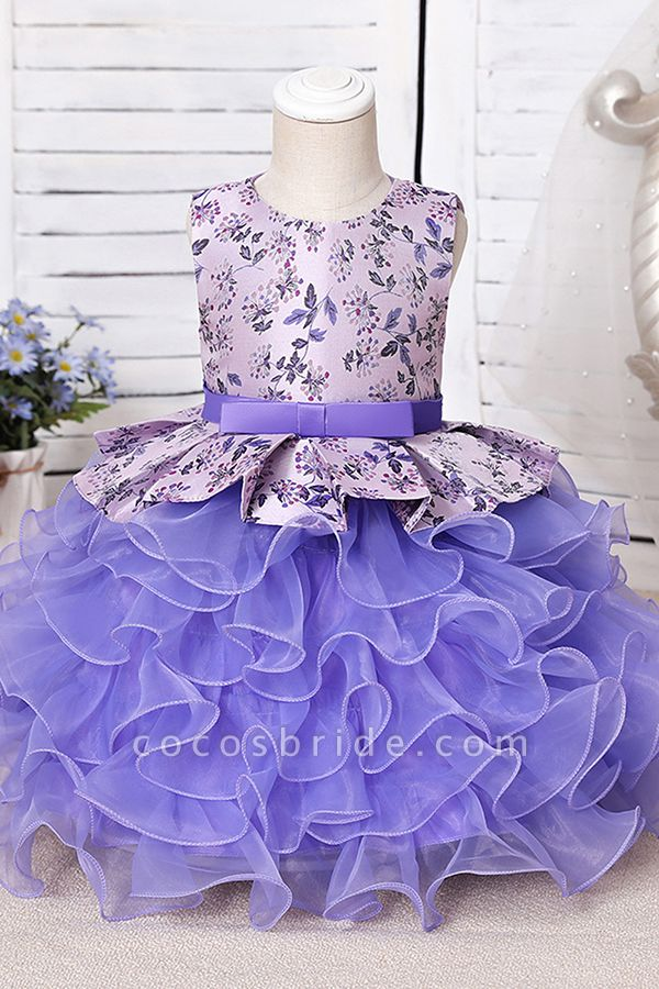 FS9963 Scoop Purple Ruffles Floor Length Flower Girl Dress