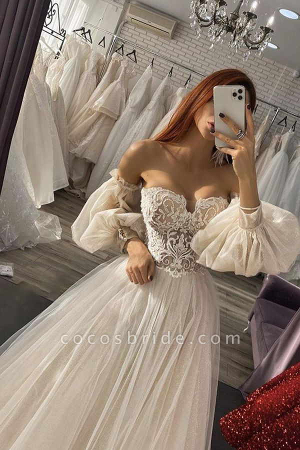 BC5736 Off The Shoulder Long Sleeve Appliques Tulle A-line Wedding Dress