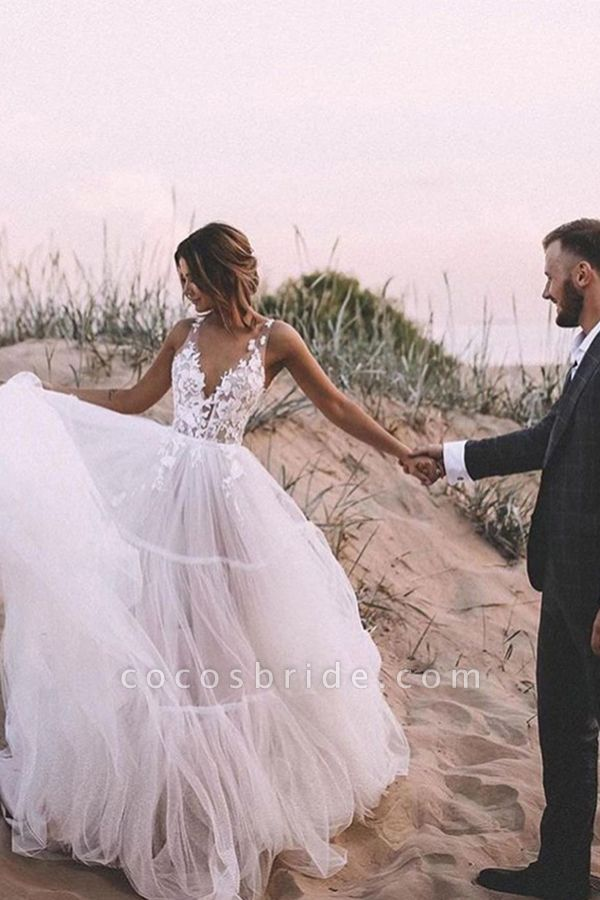 BC5667 Straps Lace V-neck Sheer A-line Boho Wedding Dress