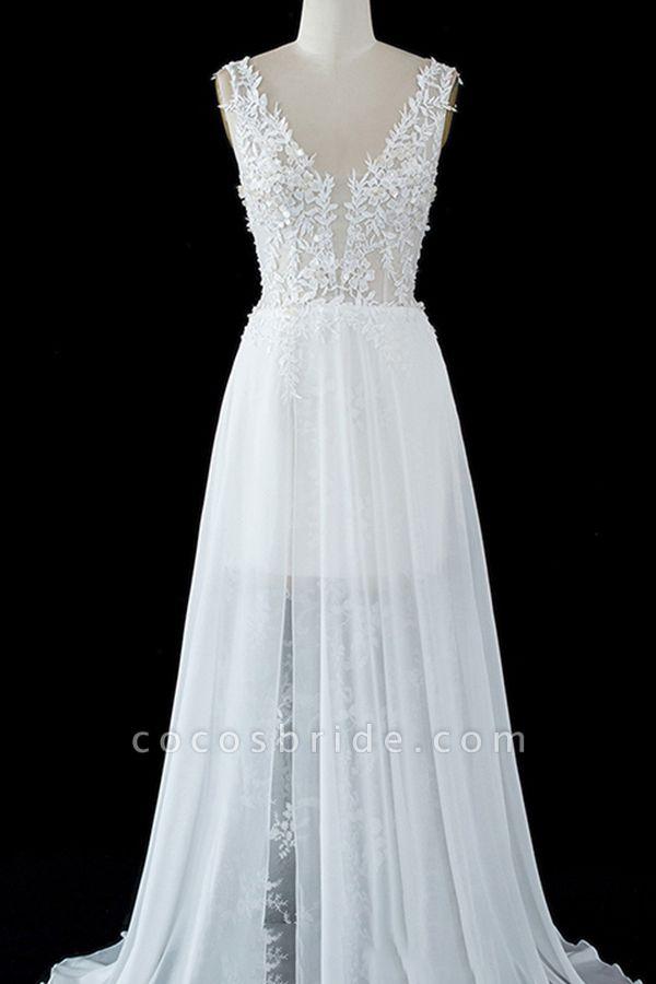 BC5671 Straps Lace Side Split Sheer Tulle A-line Wedding Dress