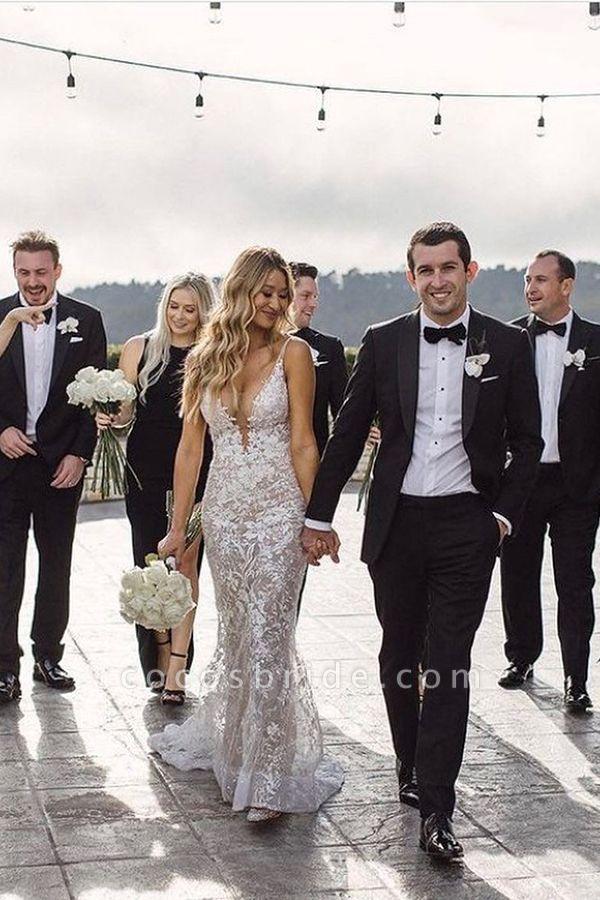 BC5801 Mermaid Spaghetti Straps Lace V-neck Jewel Wedding Dress