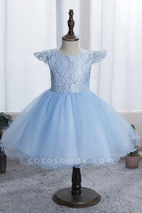 FS9974 Scoop Cap Sleeve Blue Flower Girl Dress
