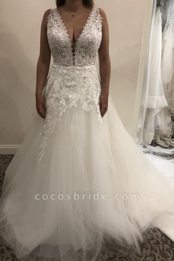 BC5798 Simple Lace Tulle V-neck A-line Backless Wedding Dress