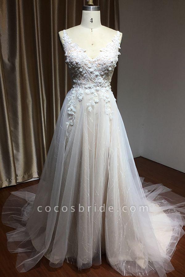 CPH235 Straps Floral Appliques A-line Side Split Backless Wedding Dress
