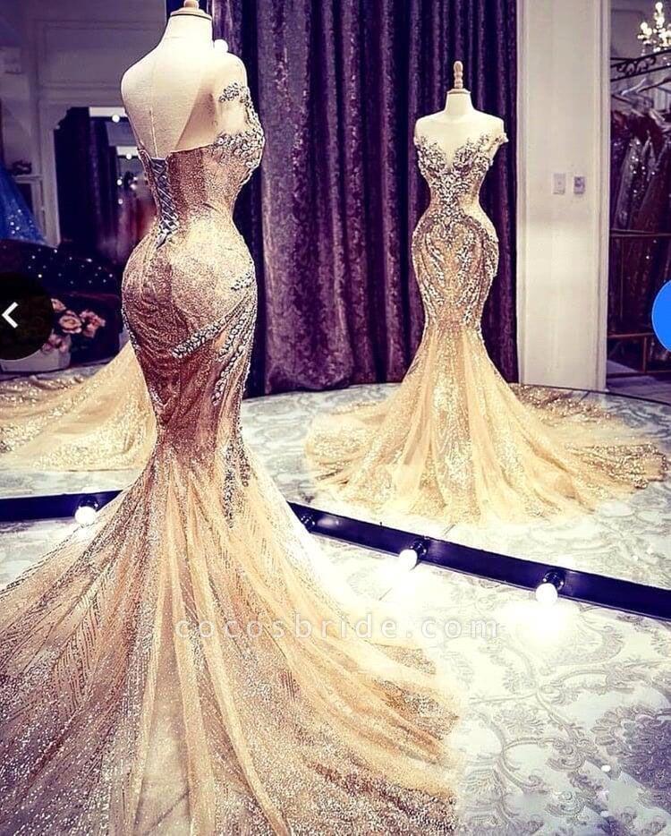 Luxury Beadings Crystal Cap Sleeve Mermaid Prom Dress