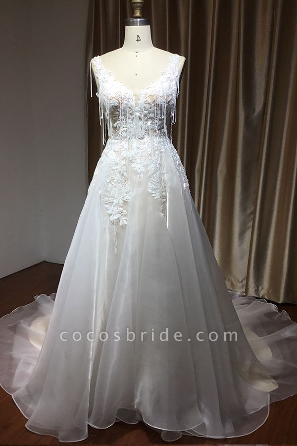 CPH236 V-neck Straps Appliques A-line Backless Wedding Dress