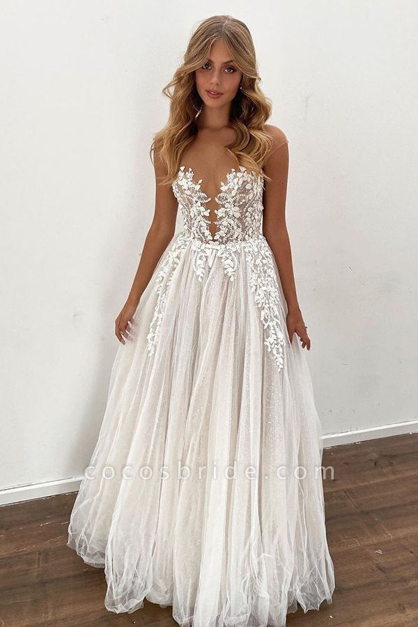 BC5802 Gorgeous Sheer Tulle Appliques A-line Floor Length Wedding Dress