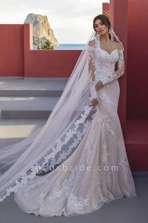 BC5668 Off The Shoulder Mermaid Illusion Lace Lone Sleeve Wedding Dress