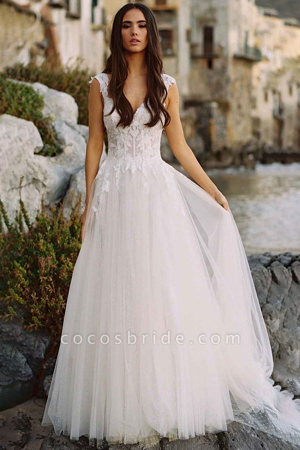 BC5754 Delicate Lace Straps Sweetheart Tulle A-line Boho Wedding Dress
