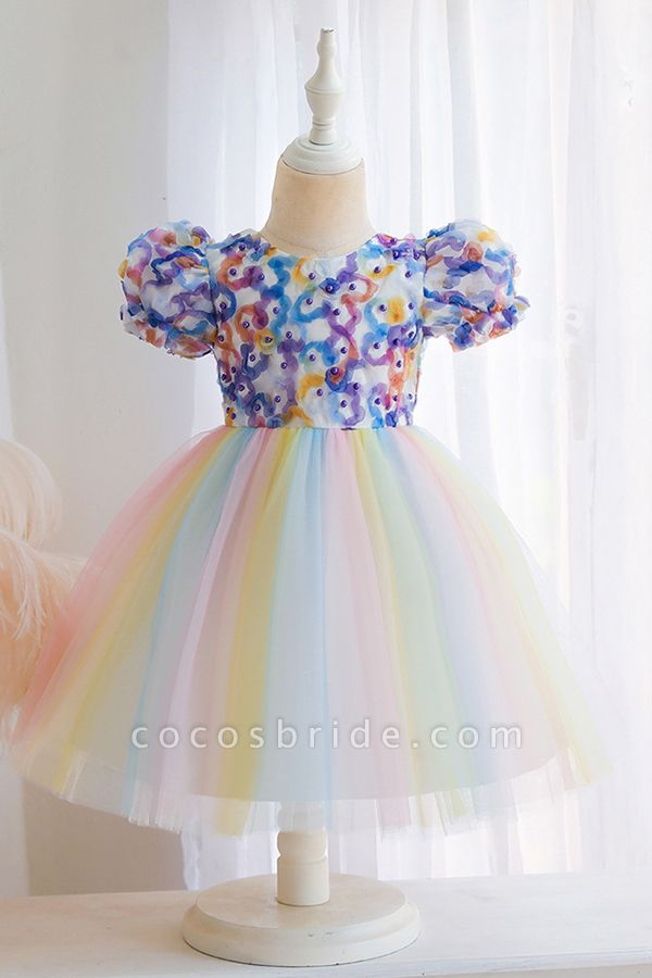 FS9968 Scoop Short Sleeve Ball Gown Flower Girl Dress With Bow