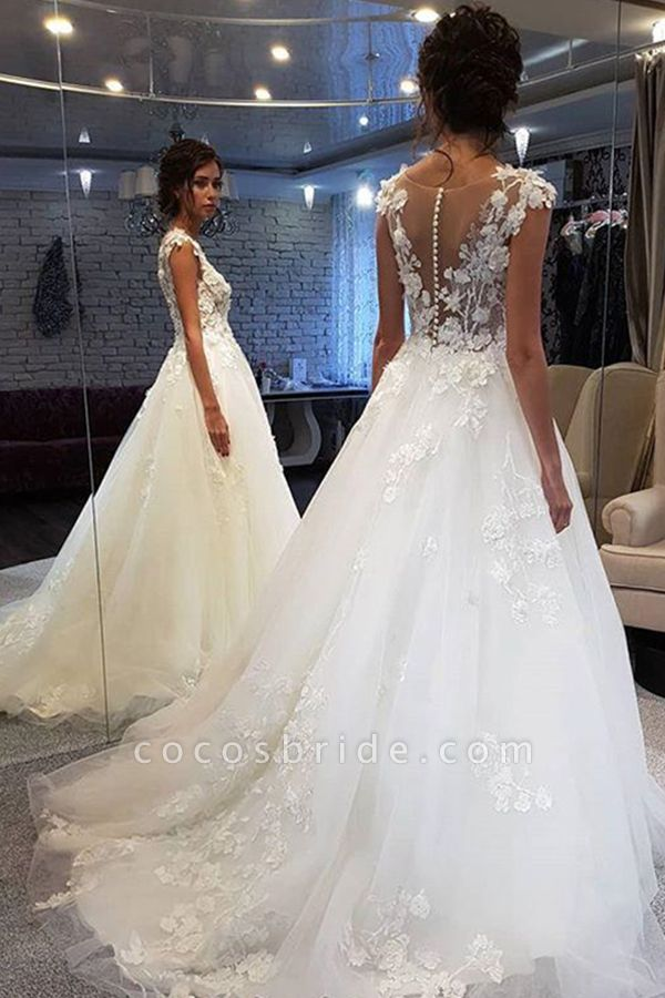 BC5900 Graceful White Lace Appiliques Wedding Dresses Long