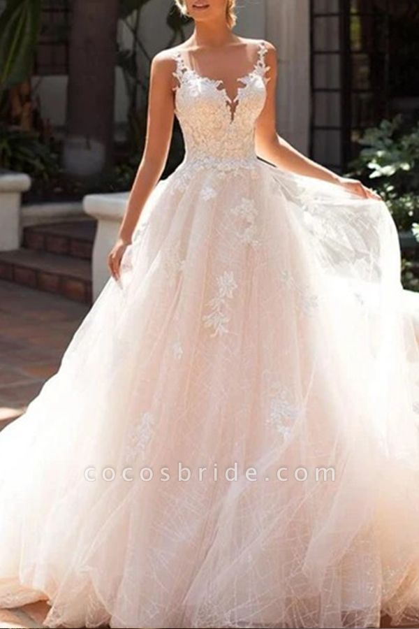 BC5902 Elegant Sleeveless Tulle Wedding Dresses With Appliques