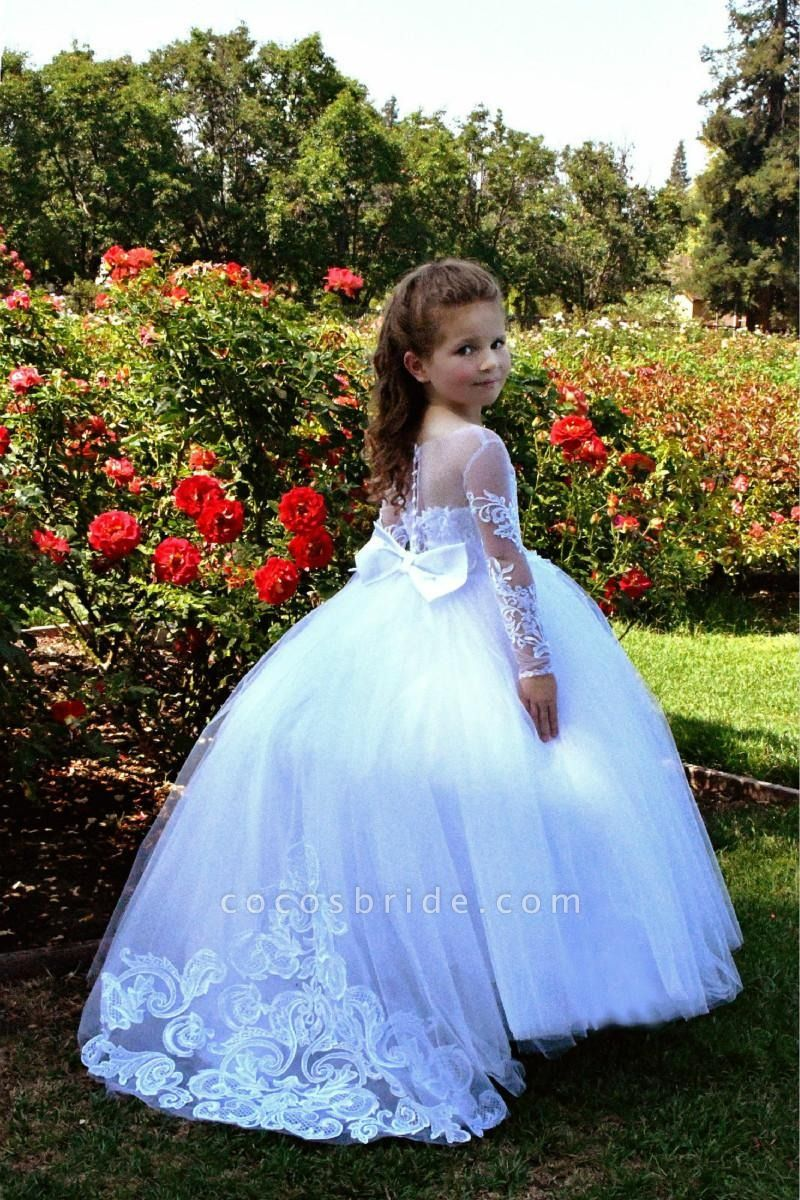 SD2157 Beautiful Puffy Beaded Flower Girls Dresses With Long Sleeves