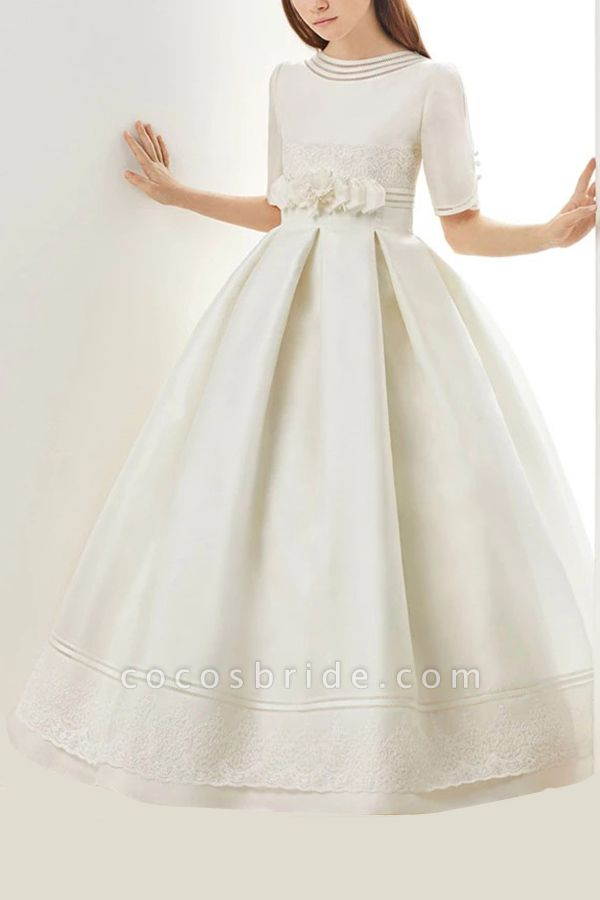 SD2158 Ruffle Jewel Neck Half Sleeves Flower Girls Dresses For Pageant