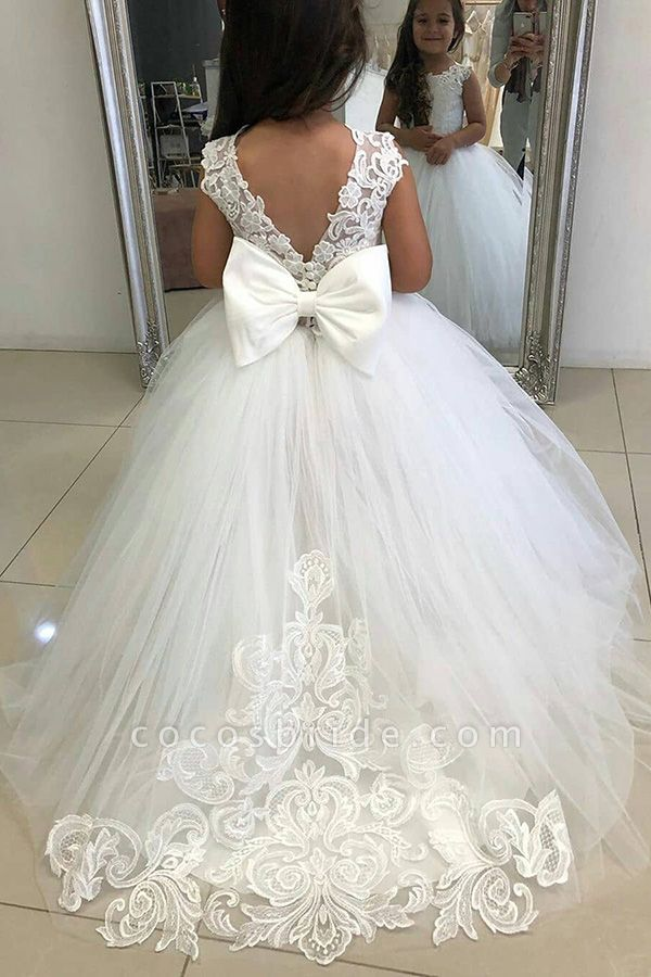 Cute Tulle Ivory Sleeveless Flower Girls Dresses Ball Gown