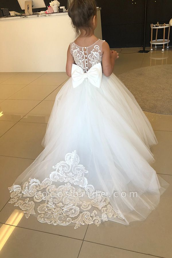 Puffy Jewel Sleeveless Appliques Flower Girls Dresses With Bow