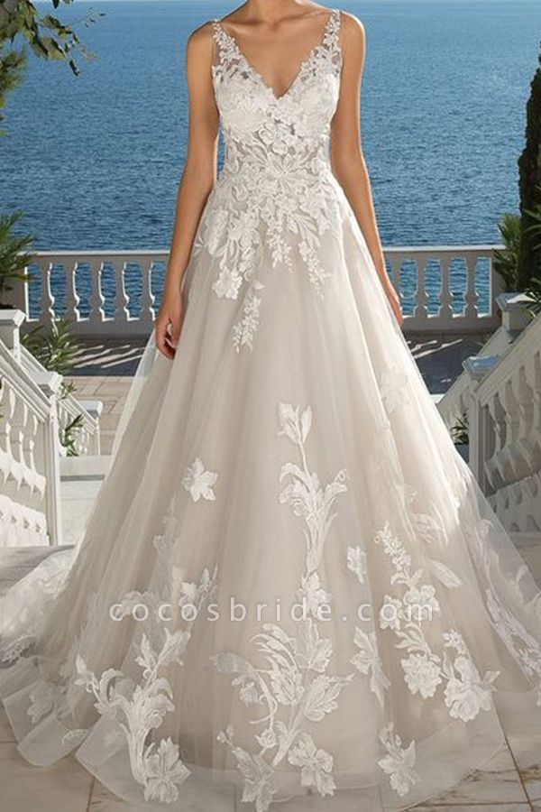BC5897 Glamorous Sleeveless V Neck Wedding Dresses With Lace