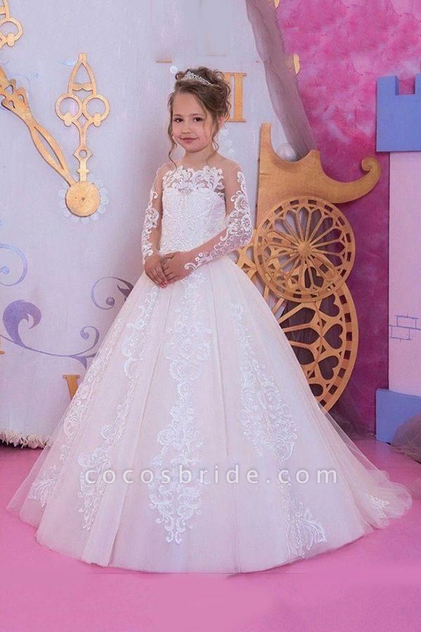 SD2159 Adorable Applique Flower Girls Dresses With Long Sleeves