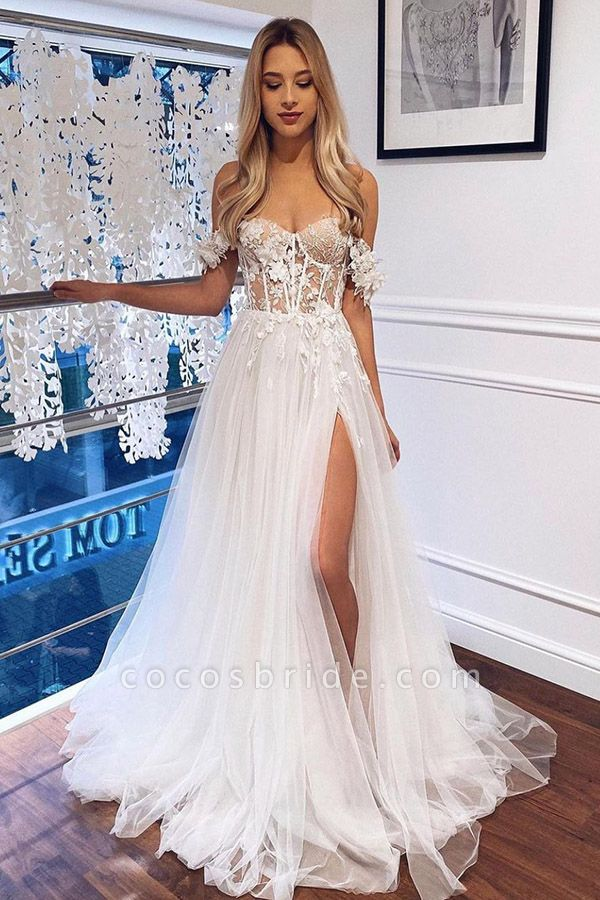 SD2161 White A Line Lace Off The Shoulder Boho Wedding Dress