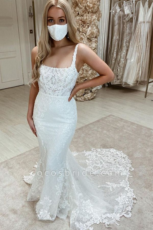 BC5904 Appliques Tulle Sleeveless Bateau Wedding Dresses Mermaid