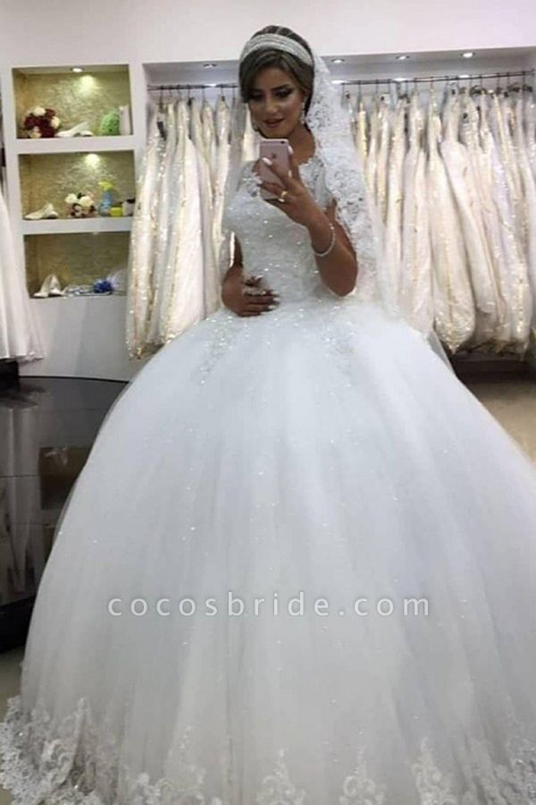 SDBC1452 Elegant White Sleeveless Ball Gown Wedding Gowns With Lace
